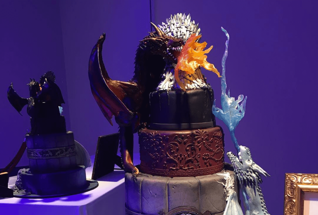 Tiered cake with dragons