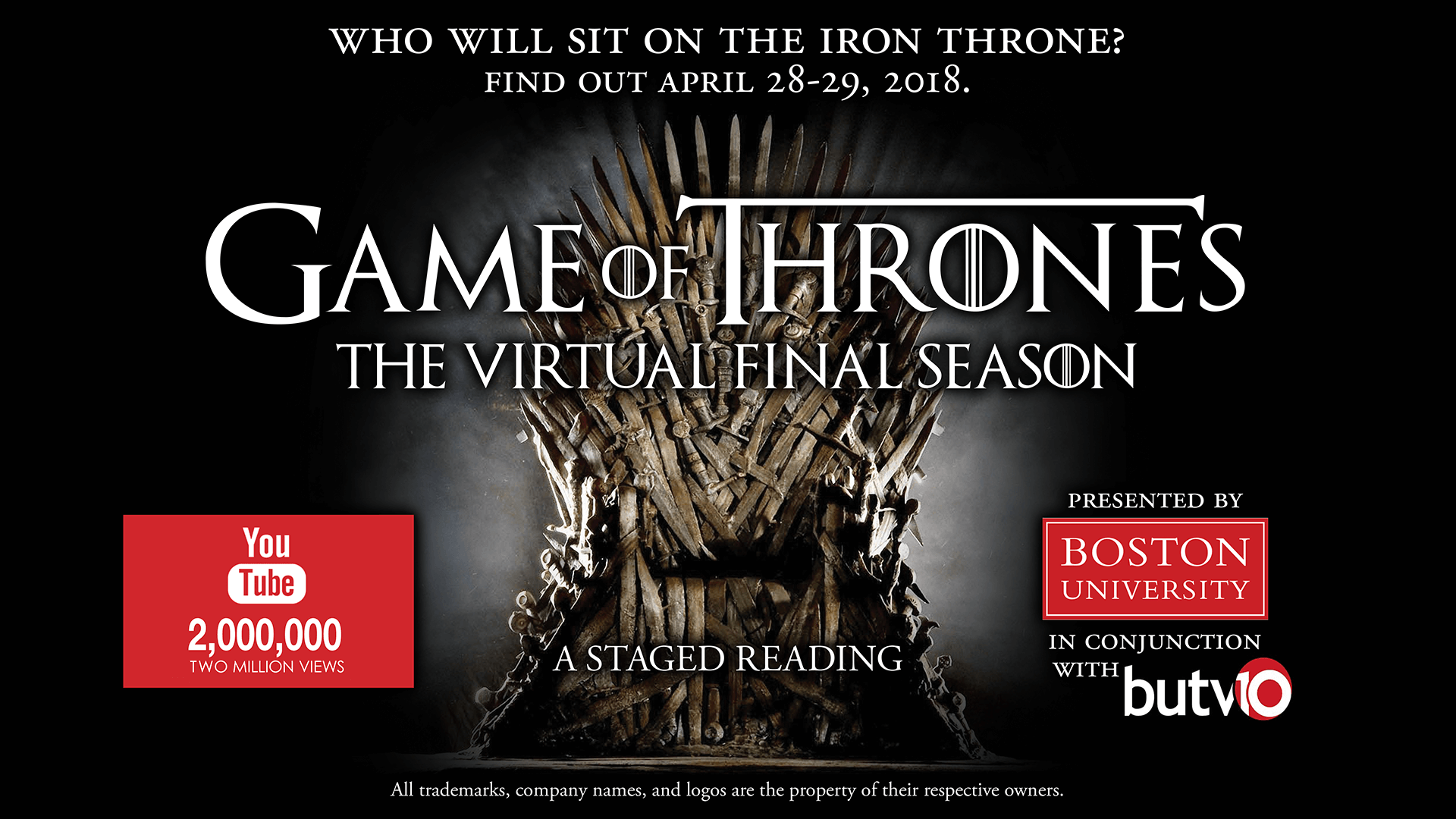 BU Game of Thrones virtual season two million views banner