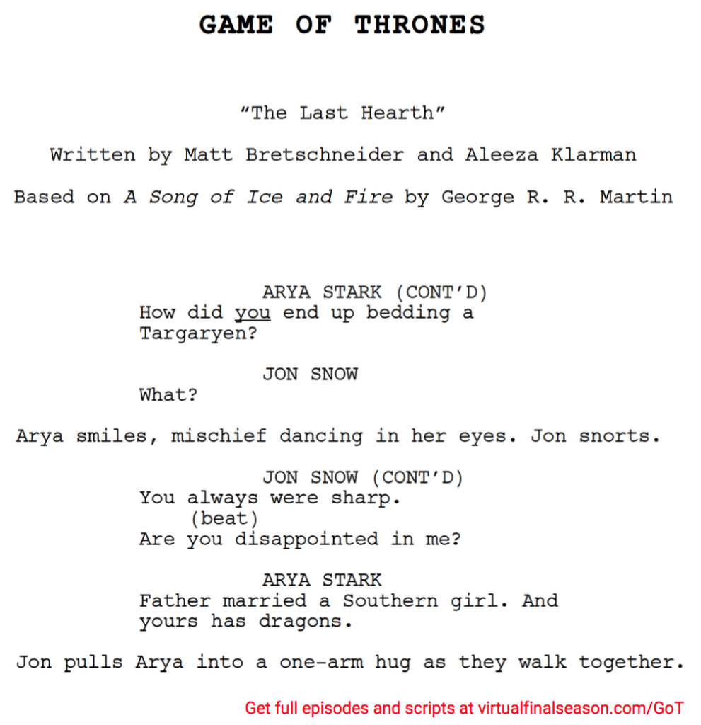 Script excerpt from episode 801