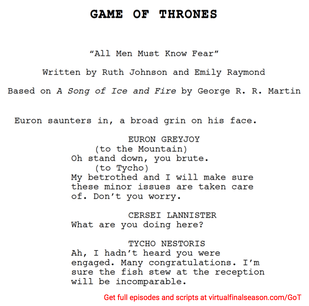Script excerpt from episode 802