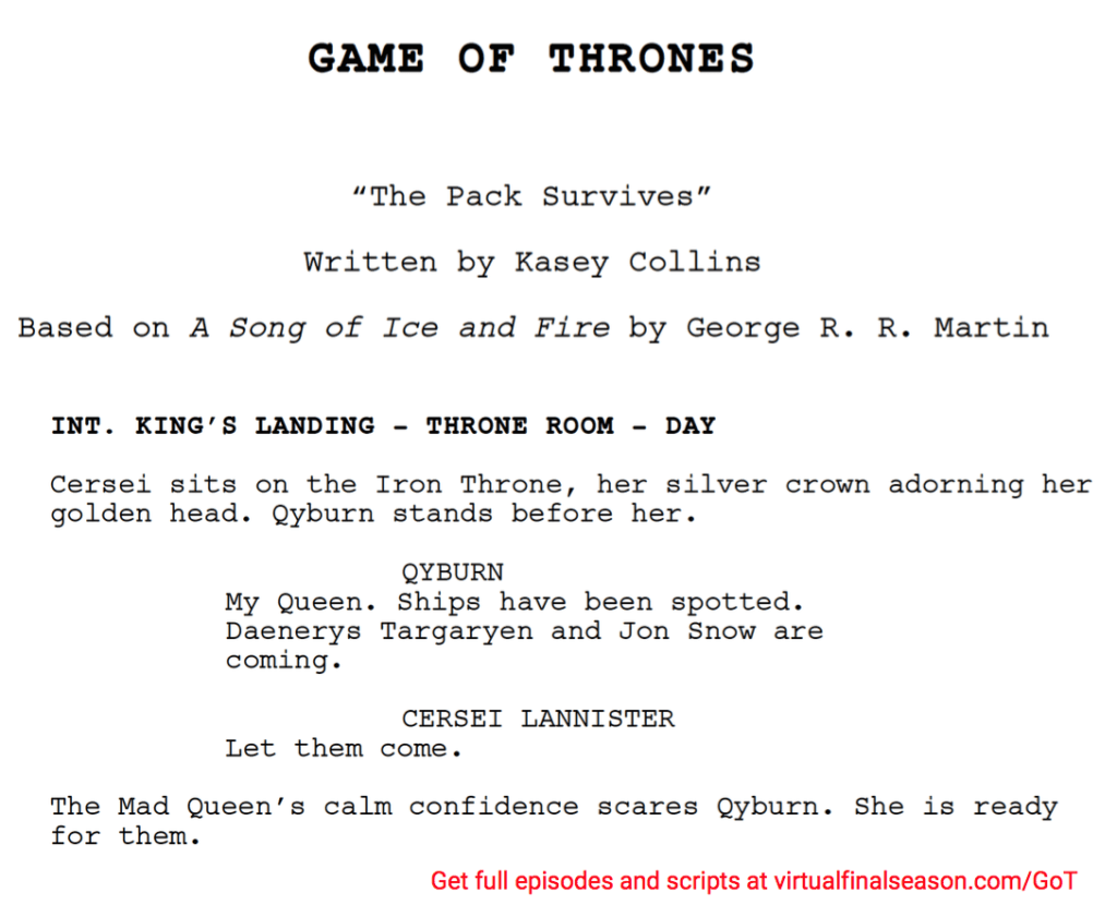 Script excerpt from episode 804