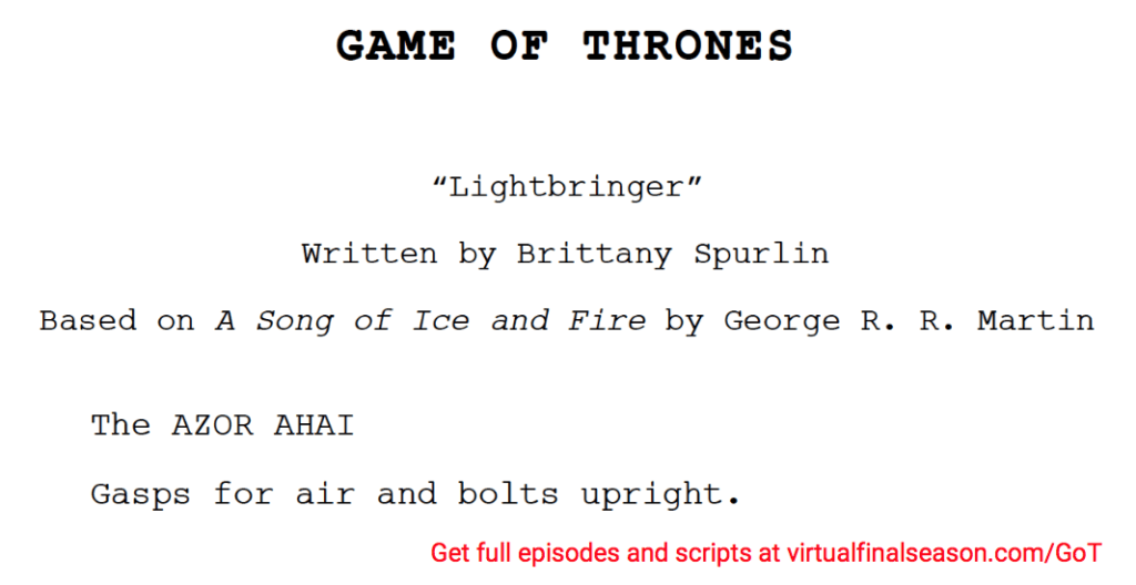 Script excerpt from episode 806