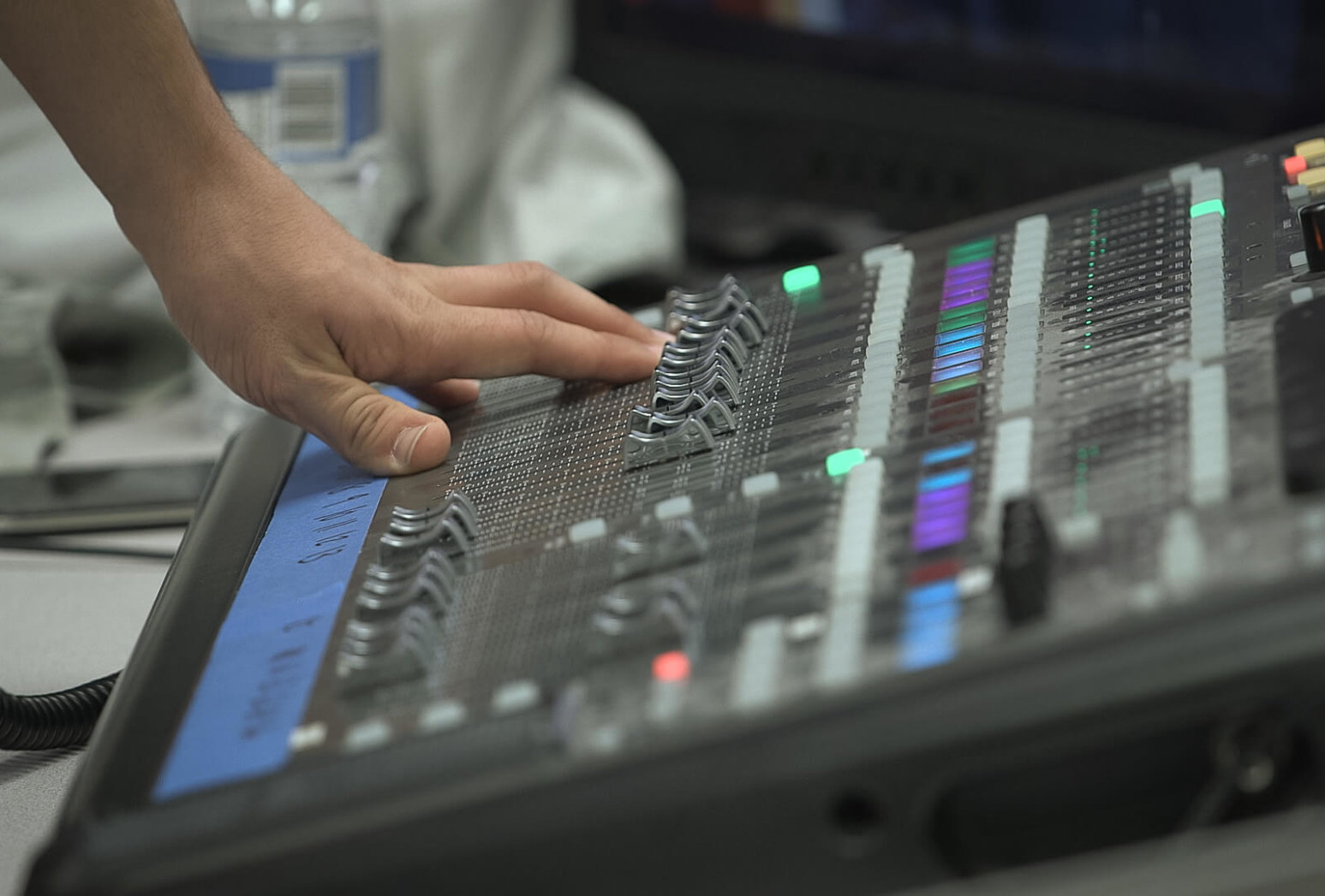 Hand on production console