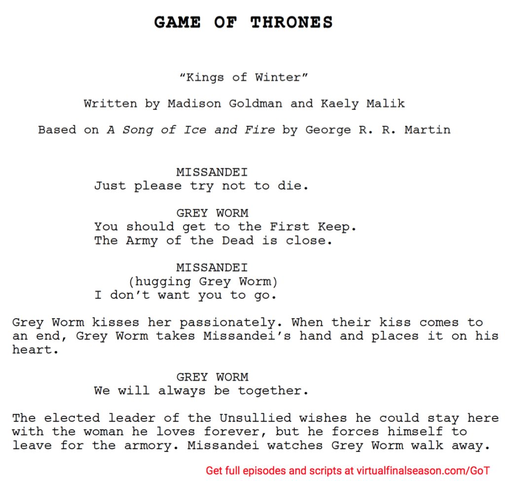 Script excerpt from episode 803